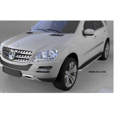 Пороги алюминиевые (Ring) Mercedes ML W164 (2006-2011)