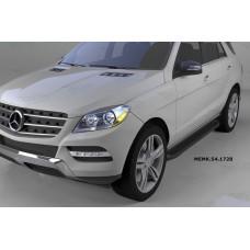 Пороги алюминиевые (Sapphire Black) Mercedes ML W166 (2011-)