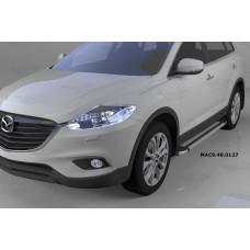 Пороги алюминиевые (Brillant) Mazda (Мазда) CX9 (2013-) (серебр)