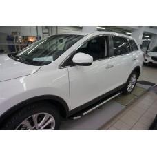 Пороги алюминиевые (Brillant) Mazda (Мазда) CX9 (2013-) (черн/нерж)