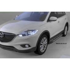 Пороги алюминиевые (Corund Silver) Mazda (Мазда) CX9 (2013-)