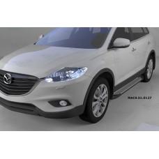 Пороги алюминиевые (Sapphire Silver) Mazda (Мазда) CX9 (2013-)