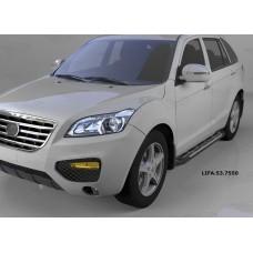 Пороги алюминиевые (Corund Silver) Lifan X60 (2011-)