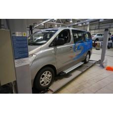 Пороги алюминиевые (Brillant) Hyundai H1 (2007-) (серебр)