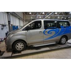 Пороги алюминиевые (Sapphire Silver) Hyundai H1 (2007-)