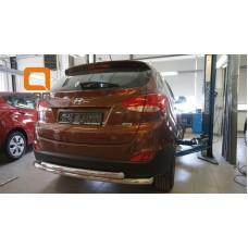 Защита заднего бампера Hyundai IX-35 (2009-2015) (двойная) d60/60