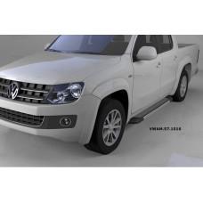 Пороги алюминиевые (Topaz) Volkswagen Amarok (Амарок) (2010-)