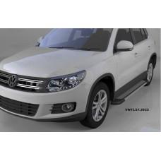 Пороги алюминиевые (Topaz) Volkswagen Tiguan (Тигуан) (2008-)