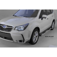 Пороги алюминиевые (Emerald silver ) Subaru Forester (2013-)