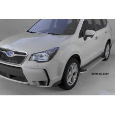 Пороги алюминиевые (Opal) Subaru Forester (2013-)