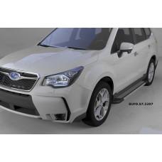 Пороги алюминиевые (Topaz) Subaru Forester (2013-)