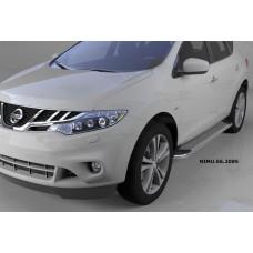 Пороги алюминиевые (Opal) Nissan Murano (2008-)