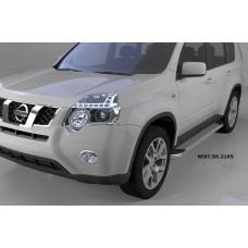 Пороги алюминиевые (Opal) Nissan X-Trail (Ниссан Икстрейл) (2007-2010-2014)