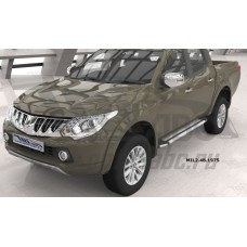 Пороги алюминиевые (Brillant) Mitsubishi L200 (2006-2013 / 2014- / 2015-) (серебр)