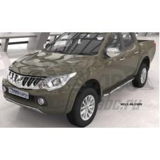 Пороги алюминиевые (Brillant) Mitsubishi L200 (2006-2013 / 2014- / 2015-) (черн/нерж)
