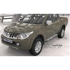 Пороги алюминиевые (Sapphire Silver) Mitsubishi L200 (2006-2013 / 2014- / 2015-)