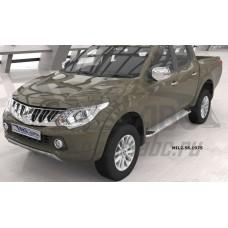 Пороги алюминиевые (Opal) Mitsubishi L200 (2006-2013 / 2014- / 2015-)