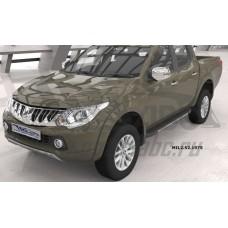 Пороги алюминиевые (Onyx) Mitsubishi L200 (2006-2013 / 2014- / 2015-)