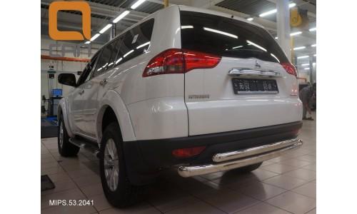 Защита заднего бампера Mitsubishi Pajero Sport (Митсубиши Паджеро) (2008-) (двойная) d 76/60 на Mitsubishi Pajero Sport (2008-2012)