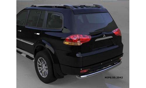 Защита заднего бампера Mitsubishi Pajero Sport (Митсубиши Паджеро) (2008-) (одинарная) d 76 на Mitsubishi Pajero Sport (2008-2012)