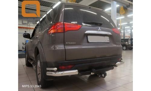 Защита заднего бампера Mitsubishi Pajero Sport (Митсубиши Паджеро) (2008-) (уголки) d 76/42 на Mitsubishi Pajero Sport (2008-2012)