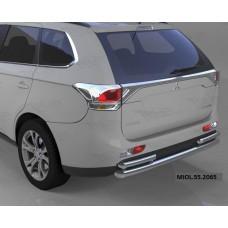 Защита заднего бампера Mitsubishi Outlander (-2014/2014-04.2015) (одинарная с уголками) d 60/42