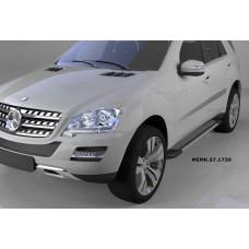 Пороги алюминиевые (Topaz) Mercedes ML W164 (2006-2011)