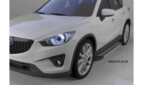 Пороги алюминиевые (Topaz) Mazda (Мазда) CX5 (2012-2015 /2015-) на Mazda CX-5 (2011-2015)
