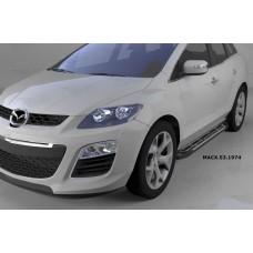 Пороги алюминиевые (Corund Silver) Mazda (Мазда) CX7 (2011-)