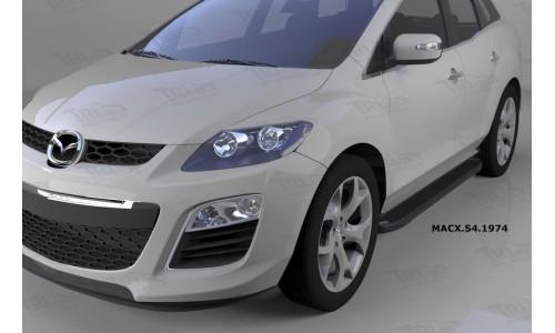 Пороги алюминиевые (Sapphire Black) Mazda (Мазда) CX7 (2011-) на Mazda CX-7 (2010-2013)