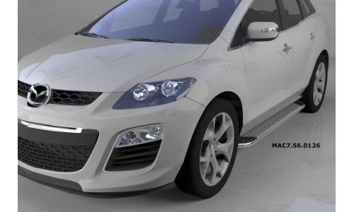 Пороги алюминиевые (Opal) Mazda (Мазда) CX7 (2011-) на Mazda CX-7 (2010-2013)