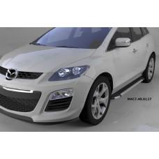 Пороги алюминиевые (Brillant) Mazda (Мазда) CX7 (2011-) (черн/нерж)