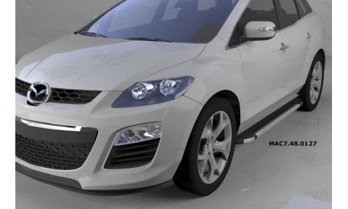 Пороги алюминиевые (Brillant) Mazda (Мазда) CX7 (2011-) (черн/нерж) на Mazda CX-7 (2010-2013)