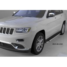 Пороги алюминиевые (Brillant) Jeep Gr. Cherokee (2011-) (черн/нерж) (кроме SRT)