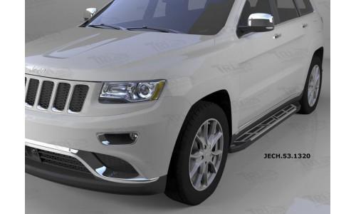 Пороги алюминиевые (Corund Silver) Jeep Gr. Cherokee (2011-) (кроме SRT) на Jeep Grand Cherokee (2014-2016)
