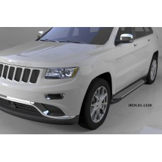 Пороги алюминиевые (Sapphire Silver) Jeep Gr. Cherokee (2011-) (кроме SRT)