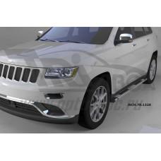Пороги алюминиевые (Emerald silver ) Jeep Gr. Cherokee (2011-) (кроме SRT)