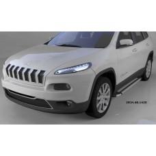 Пороги алюминиевые (Brillant) Jeep Cherokee (2014-) (серебр)