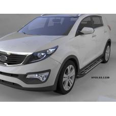 Пороги алюминиевые (Corund Silver) Kia Sportage (Киа Спортаж) III (2010-2016)