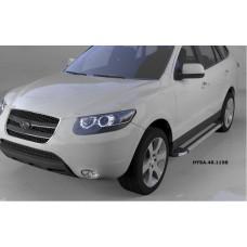 Пороги алюминиевые (Brillant) Hyundai Santa Fe (Хёндай Санта Фе) (2006-2010-2012) кроме Тагаз (сереб