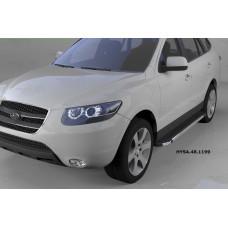 Пороги алюминиевые (Brillant) Hyundai Santa Fe (Хёндай Санта Фе) (2006-2010-2012) кроме Тагаз (черн/