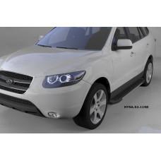 Пороги алюминиевые (Onyx) Hyundai Santa Fe (Хёндай Санта Фе) (2006-2010-2012) кроме Тагаз