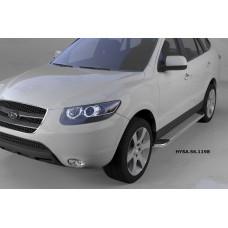 Пороги алюминиевые (Opal) Hyundai Santa Fe (Хёндай Санта Фе) (2006-2010-2012) кроме Тагаз