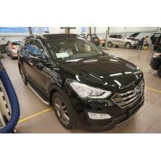 Пороги алюминиевые (Alyans) Hyundai Santa Fe (Хёндай Санта Фе) (2012-/2013-/2015-)