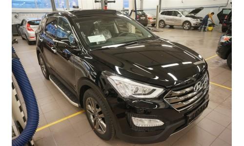 Пороги алюминиевые (Alyans) Hyundai Santa Fe (Хёндай Санта Фе) (2012-/2013-/2015-) на Hyundai Santa Fe (2013-2018)