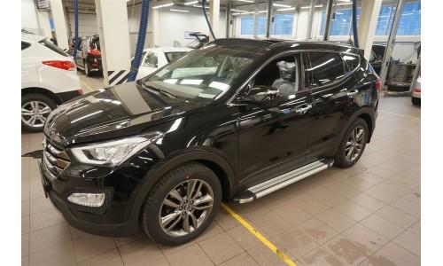 Пороги алюминиевые (Brillant) Hyundai Santa Fe (Хёндай Санта Фе) (2012-/2013-/2015-) (серебр) на Hyundai Santa Fe (2013-2018)