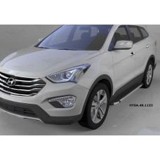 Пороги алюминиевые (Brillant) Hyundai Santa Fe (Хёндай Санта Фе) (2012-/2013/2015--) (черн/нерж)
