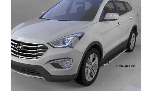 Пороги алюминиевые (Brillant) Hyundai Santa Fe (Хёндай Санта Фе) (2012-/2013/2015--) (черн/нерж) на Hyundai Santa Fe (2013-2018)