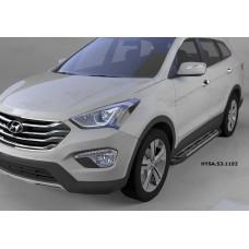 Пороги алюминиевые (Corund Silver) Hyundai Santa Fe (Хёндай Санта Фе) (2012-/2013-/2015-)