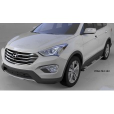 Пороги алюминиевые (Emerald silver ) Hyundai Santa Fe (Хёндай Санта Фе) (2012-/2013-/2015-)